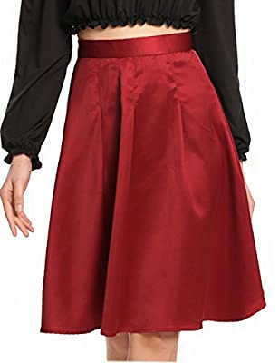 Zeagoo Women's Elegant High Waisted Solid Knee Length Flare Skater A Line Skirts