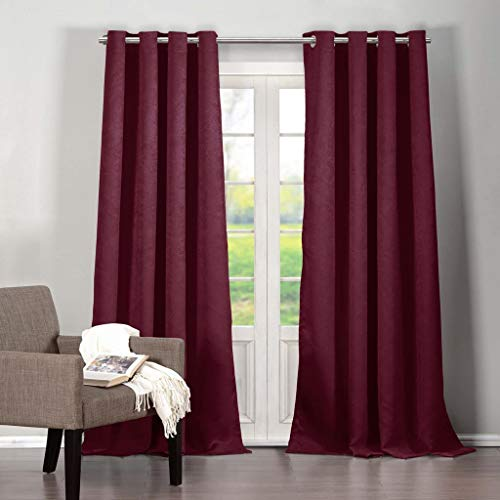 Duck River Textiles - Home Fashion Solid Faux Silk Textured Blackout Room Darkening Grommet Top Window Curtains Pair Panel Drapes for Bedroom, Living Room - Set of 2 Panels - 40 X 84 Inch - Raspberry