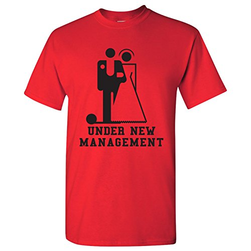 Under New Management - Marriage, Sarcastic, Husband, Wife, Wedding, Bachelor Party - Funny Adult Novelty Cotton T-Shirt - Large - Red by UGP Campus Apparel
