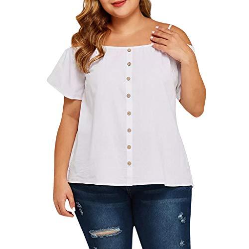 LENXH Fashion Womens Plus Size Tops Casual Summer Cold Fashion T-Shirt Ladies Shoulder Solid Button Blouse White