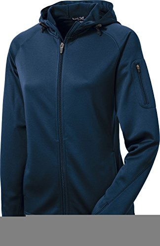 - Sport-Tek L248 Ladies Tech Fleece Full-Zip Hooded Jacket - True Navy - L