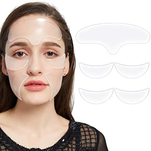 Pack of 5, Face Anti Wrinkle Pads Silicone for Wrinkles And Lines - 1x Forehead Wrinkle Patches, 2 x Eye Silicone Pad for Wrinkles, 2 x Silicone Wrinkle Smile Pads
