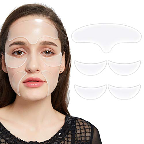 - Pack of 5, Face Anti Wrinkle Pads Silicone for Wrinkles And Lines - 1x Forehead Wrinkle Patches, 2 x Eye Silicone Pad for Wrinkles, 2 x Silicone Wrinkle Smile Pads