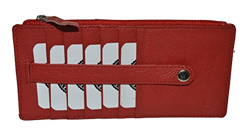 - All in One Card Case Holder Slim Wallet With a Card Protection Strap by Leatherboss (Red)