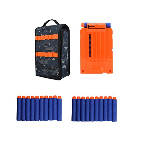 Elite Mesh Foam Hat - Vbestlife Magazine Dump Pouch Magazine Pouch Holders Tactical Toy Gun EVA Cartridge Bag Ammo Carrier Soft Bullets Storage Handbag Accessory for nerf Elite Series(Bag+20 Bullets+Clip)