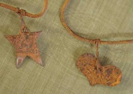 Factory Direct Craft Set of 3-6ft Rusted Metal Garland with 10 Primitive Stars-18 Total Ft. Rusted Metal Garland