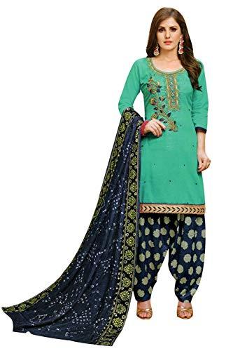 Ladyline Cotton Handworked Salwar Kameez with Bandhani Dupatta & Brocade Patiala Salwar (Size_44/ Sea Green)