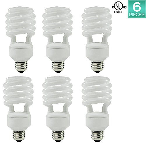 Luxrite LR20200 (6-Pack) 23-Watt CFL T2 Mini Spiral Light Bulb, Equivalent To 100W Incandescent, Day Light 6500K, 1600 Lumens, E26 Standard Base, UL-Listed - T2 Mini Spiral
