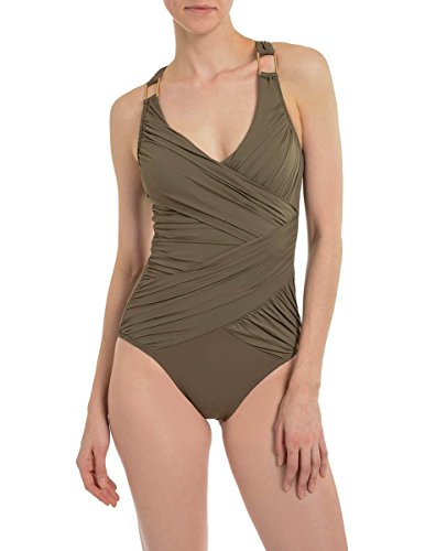 SPANX Whittle Waistline Draped One Piece Swimsuit Pewter