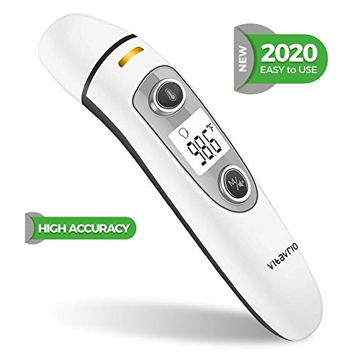 Infrared Forehead and Ear Thermometer - Non-Contact Smart Temperature Reader with Fever Alarm for Baby, Kids, Adult - Multipurpose Digital Reading for Room, Food & Body Temp | Fast Clear Display ℃ & ℉