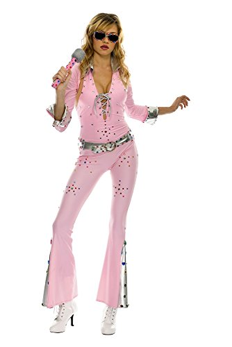 Vegas Rock Star Pink Elvis Jumpsuit Adult Costume