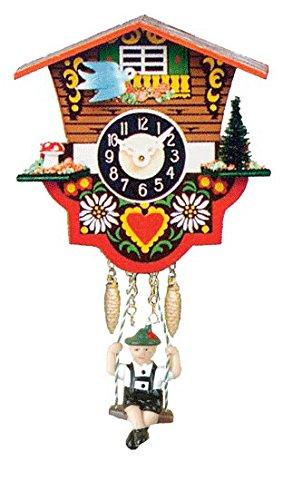 Quartz Clock with Swinging Boy, Cuckoo Call & Chimes