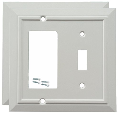 Pack of 2 Wall Plate Outlet Switch Covers by SleekLighting | Classic Architecture Wall plates| Variety of Styles: Rocker/Receptacle / Toggle / & Combo | Size: 2 Gang Combo Toggle and Rocker