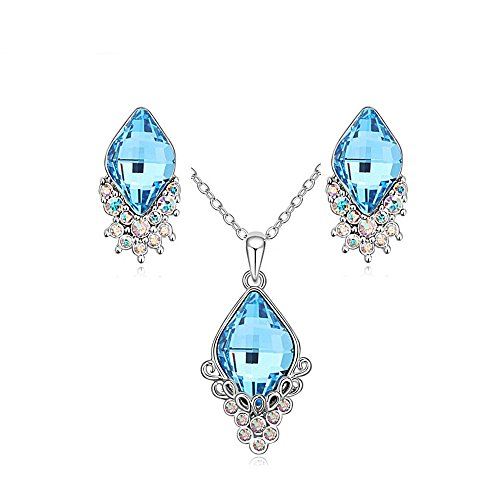 Price comparison product image Blue Crystal Pendant Necklace Earrings Set For Women Teen Girls 18K White Gold Plated Prime Gift