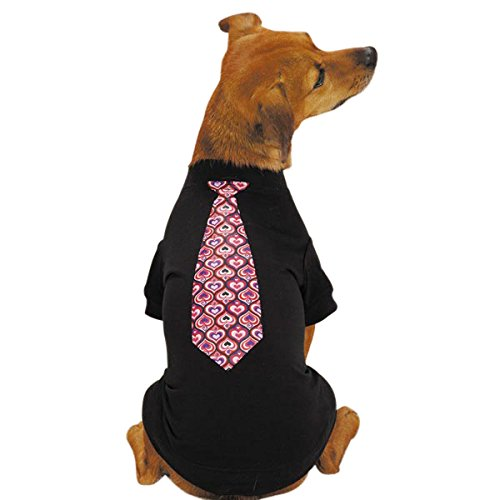 East Side Collection Polyester Cotton Full of Heart Tie Dog Tee, X-Large, Black