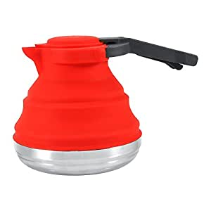 Foldable Silicone kettle Portable Boiled Water Kettle for Home Tea Coffee Outdoor Camping Hiking Travel ( Color : Red )
