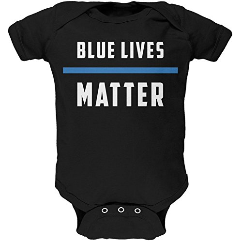 Police Blue Lives Matter Thin Blue Line Black Soft Baby One Piece - 18-24 months (Girls Police Outfit)