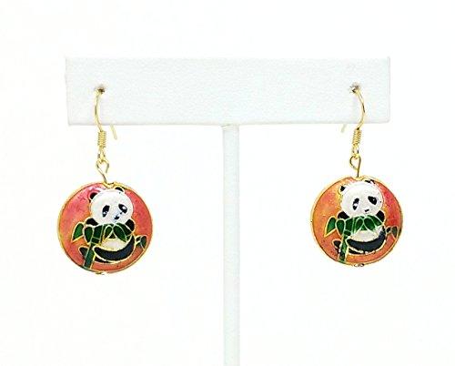 (Vintage Cloisonne Panda Bear Earrings)