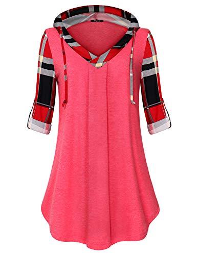 Ckuvysq V Neck Flare Tunics, Women's Henley Spilt V-Neck Long Sleeve Simple Paisley Floral Zulily Knit Basic Shirts Flared Casual Blouse Tops Pink Medium ()