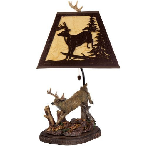 River's Edge Deer Table Lamp with Metal Shade