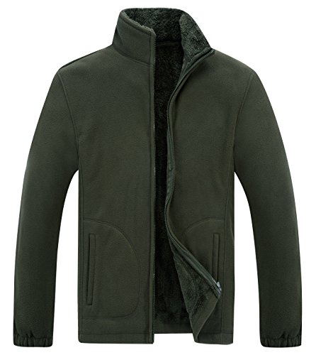 - Panegy Mens Sporty Fleece Coats Thicken Warm Standing Collar Pullover Sweatshirts Warm Jackets Army Green 175