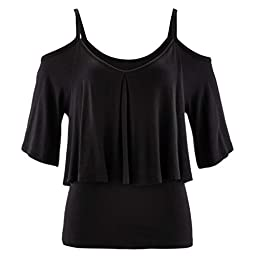 Sinfu Women Summer Loose T-Shirt Ladies Half Sleeve Shirt Casual Hollow Out Tee Shirt (Asian Size:M, Black)