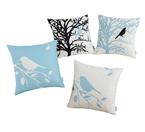 CaliTime Set of 4 Canvas Throw Pillow Covers Cases Couch Sofa Home Decoration Vintage Birds Tree Branches Silhouette 18 X 18 inches Black/Light Blue -