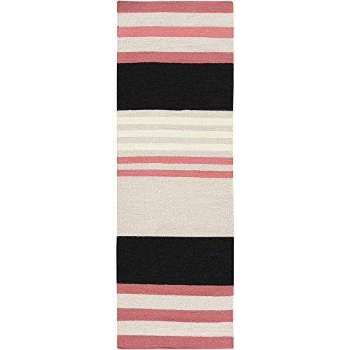 Surya Angelo Surmelis Sheffield Market SFM-8006 Hand Woven 100-Percent Wool Stripes Runner, 2-Feet 6-Inch by 8-Feet, Coral, Black, Light Gray