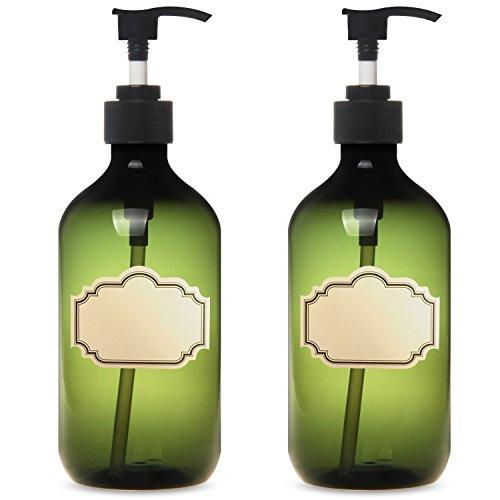 YILOVE Plastic Liquid Soap Dispenser 16 Ounce Green Pump Bottle,2 Pack