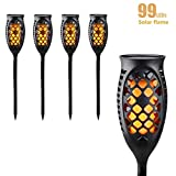 Juhefa Solar Lights Outdoor, Solar Torch Light Flickering Flame 99 LED Waterproof Garden Lighting Pathway Patio Landscape Decoration, 3 Modes & 3 Mounting Options, Dusk to Dawn Auto On/Off (4)