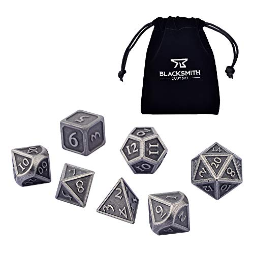 Blacksmith Craft Dice DND Dice Set - Metal Polyhedral Dungeons and Dragons Dice Sets with Dice Bag for RPG Gaming Including D20 (Antique Iron, Regular)