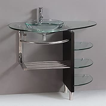 Contemporary Glass Vanity Combo SET with Shelfs. Contemporary Glass Vanity Combo SET with Shelfs   Bathroom