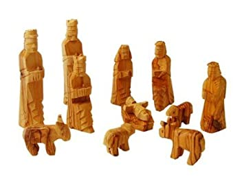 Holy Land Market Large Olive Wood Nativity Set 12 pcs with 3-D Animals – 5 Inch Set