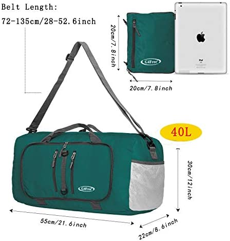 """G4Free 22"""" Foldable Sports Bag 40L Water Resistant Carry On Tote Bag Overnight Weekender Bag Lightweight"""