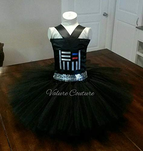 Handmade Star Wars Halloween Costumes (Star Wars Darth Vadar Inspired Tutu Dress Costume Birthday Pageant Halloween Girls Newborn Infant Toddler Baby Outfit Onesie Shirt Bow Party Princess Kids Gift Topper)