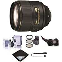 Nikon AF-S NIKKOR 105mm f/1.4E ED Telephoto Lens - U.S.A. Warranty - Bundle with 82mm Filter Kit, Flex Lens Shade, Cleaning Kit, Lens Wrap (15x15), Cap Leash