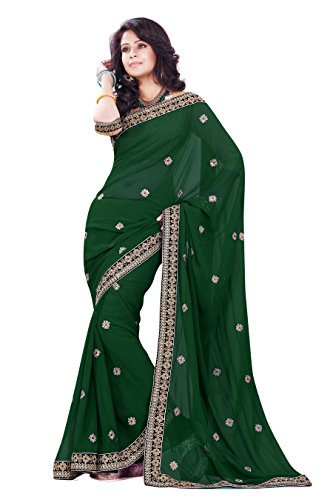 Mirchi Fashion Women's Faux Georgette Party Wear Saree Free Size Dark Green