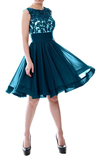 Lace Prom Formal Dress MACloth Beaded Short Gown Chiffon Women Teal Cocktail Party fEXHqwT