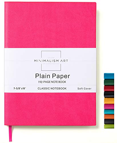 Minimalism Art, Soft Cover Notebook Journal, Composition B5 Size 7.6 X 10 inches, Berry, Plain Blank Page, 192 Pages, Fine PU Leather, Premium Thick Paper - 100gsm, Designed in San Francisco