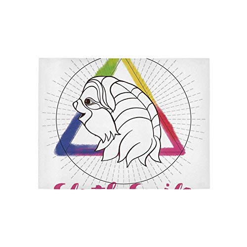 - Sloth Utility Area Rug,Smiling Sloth on Background with Sacred Geometry Symbol and Rainbow Watercolor Decorative for Home,84