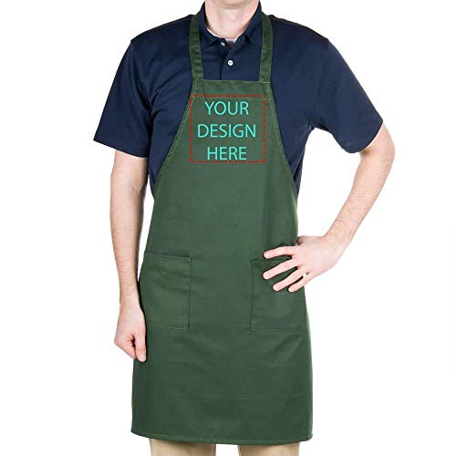 "Personalized Chef Apron Embroidered Design - Aprons for Women and Men, Kitchen Chef Apron with 2 Pockets and 40"" Long Ties, Adjustable Bib Apron for Cooking, Serving - 32"" x 34"" - Black/White/Navy/Red"