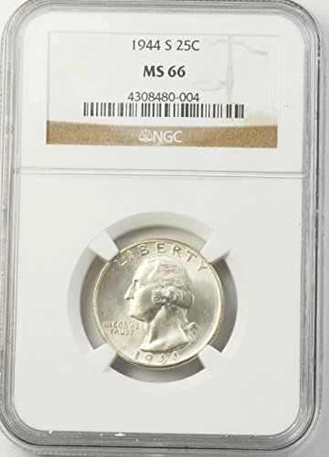 1944 S Washington Quarter Brilliant Uncirculated 25c MS66 NGC