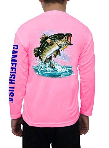 Kid's UPF 50 Long Sleeve Microfiber Moisture Wicking Performance Fishing Shirt Bass Medium - Micro Shirt Boys