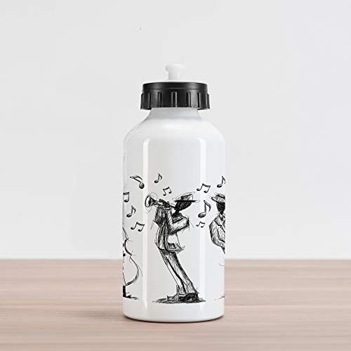 (Lunarable Music Aluminum Water Bottle, Sketch Style of a Jazz Band Playing Music with Instruments and Musical Notes Print, Aluminum Insulated Spill-Proof Travel Sports Water Bottle, Black White)