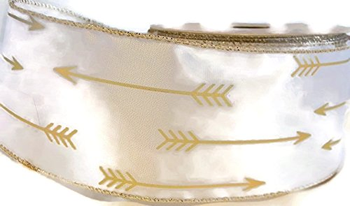 White/Gold Arrow Satin Ribbon 2.5In Wide - 6 Yards