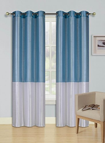 "GorgeousHome (HEIDI) 1 Silky Drape Panel Top Chrome Metallic Grommet Window Curtain Treatment Drape 2 Shade Style 37"" X Wide 63"" 84"" 95"" 108"" Length Assorted Colors (84"", L.BLUE/WHITE)"