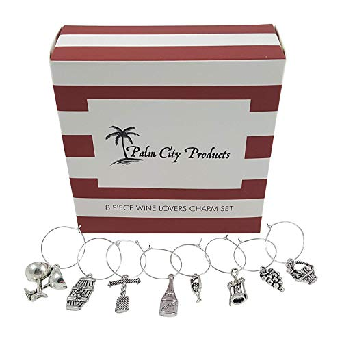 Palm City Products 8 Piece Wine Lovers Themed Charms Set