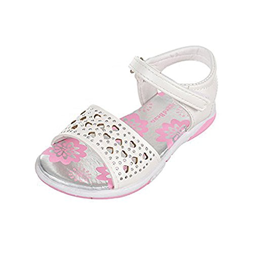 - Rugged Bear Josmo Slip On Open Toe Velcro Sandals for Toddler Girls with Hearts and Rhinestones, in White Size 5