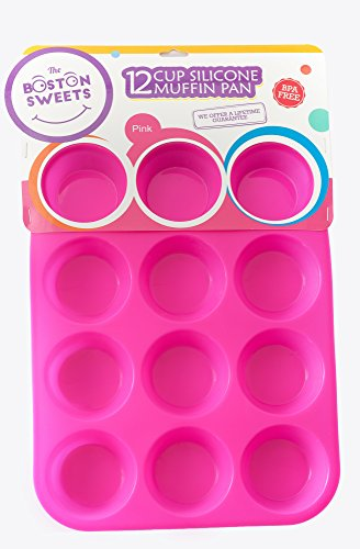 Silicone Muffin & Cupcake Pan - 12 Cups Pink Mold & Baking Tray- Reusable, Non-Stick Bakeware - Heat Resistant, Food Grade & BPA-Free Silicone, Non-Toxic- FREE E-BOOK with 50 RECIPES!
