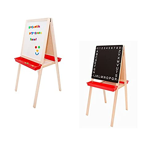 Folding 2-in-1 Child's Easel - Magnetic Whiteboard & Black Chalkboard with 3 Trays (H44 x W19ins) (Chalkboard 2 X 3)